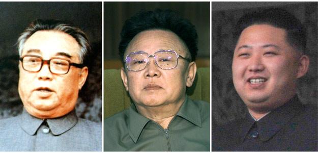 Fotografías de la disnatía de gobernantes comunistas de Corea del Norte: de izquierda a derecha, el fundador, Kim Il-sung; el dirigente fallecido, Kim Jong-il y su hijo y heredero, Kim Jong-un