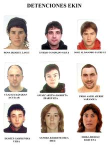 Fotografías facilitadas por la Guardia Civil de las nueve personas detenidas