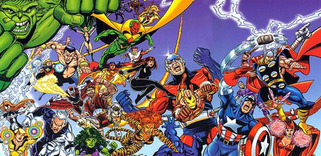 Fragmento de una ilustración de 'Los Vengadores', por George Pérez