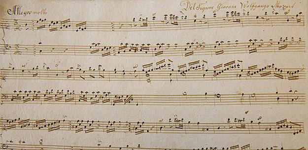 Fragmento de la partitura de Mozart recién descubierta
