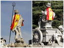 Las fuentes de Neptuno y de La Cibeles, adornadas con la bandera de Espa&ntilde;a en honor a la selecci&oacute;n espa&ntilde;ola de f&uacute;tbol.