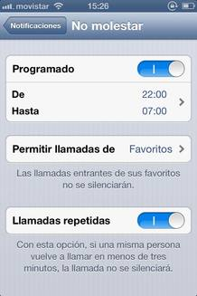 Función 'No molestar' del iOS 6