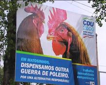 Cartel contra las peleas de gallos en la UE.
