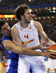 Gasol of Spain and Fotsis of Greece battle for ball during men's basketball game at Beijing 2008 Olympic Games