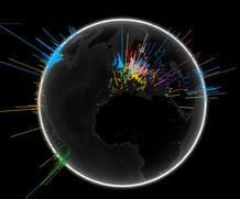 El globo terráqueo representa el número de consultas realizadas en un día y el idioma de la mayoría de las búsquedas en una zona en diferentes colores.
