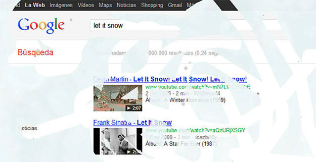 Al escribir &quot;Let it snow&quot; en el buscador de Google empieza a caer nieve sobre la pantalla