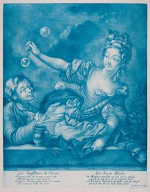 Un grabado del siglo XVIII presenta la escena de unos jóvenes jugando con pompas de jabón.