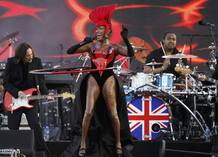 Jamaican singer Grace Jones performs during the Diamond Jubilee concert at Buckingham Palace in London