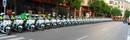 Fila de policías motoristas
