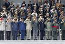 High ranking officers from various countries salute during the traditional Bastille Day military parade in Paris