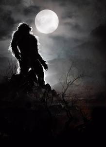 Un hombre lobo de Arga aulla a la luz de la luna
