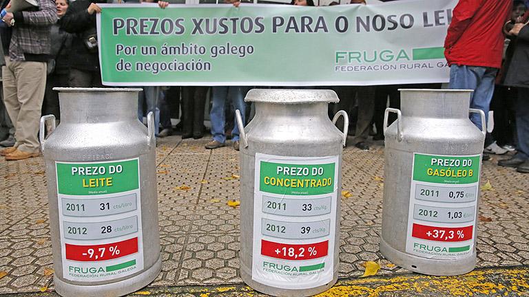 Huelga de ganaderos contra la bajada de los precios de la leche