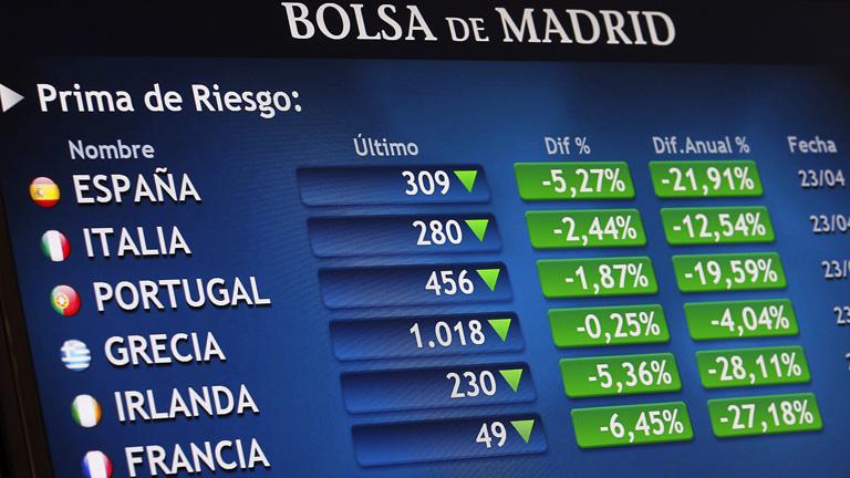 La prima de riesgo cierra en 303 puntos y el Ibex-35 reacciona con una subida del 3,26%
