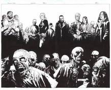 Ilustración de Charlie Adlard con los principales perrsonajes de 'Los muertos vivientes'