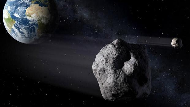 Ilustración recreando el paso del asteroide sobre la Tierra.