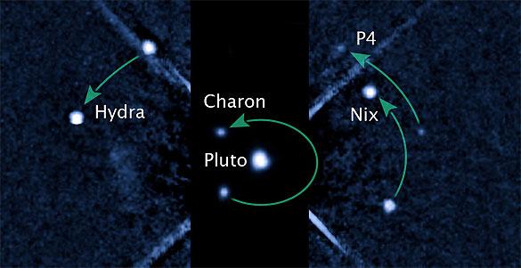 Imagen capturada por el Hubble donde se observa Plutón y sus satélites.