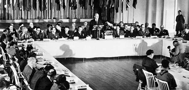 Una imagen de la conferencia de Bretton Woods.