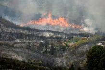 Imágen del miércoles del estado del incendio en Rasquera
