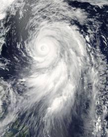 Imagen de la NASA en el que se muestra al tifón Guchol