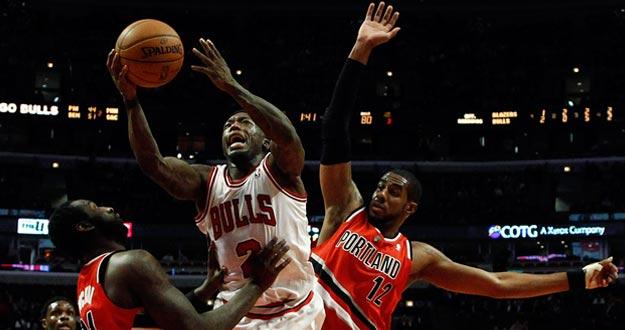 Imagen de un partido de la NBA de los Chicago Bulls y los Portland Trail Blazers el 21 de marzo.