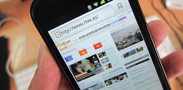 Así se ve la web de RTVE en el nuevo Nexus S