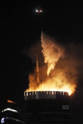 Incendio en la Torre Europa de Moscú