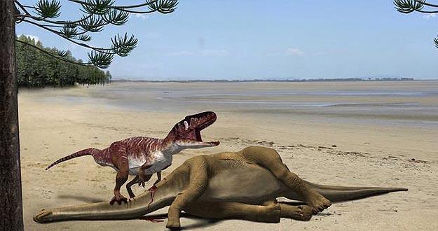 Infografía de un dinosaurio carnívoro megalosáurido alimentándose del saurópodo Turiasaurus riodevensis.