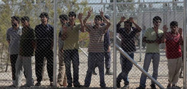 Inmigrantes irregulares en el campamento de detención de Amygdaleza, en Grecia
