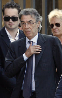 Inter Milan president Moratti arrives to attend funeral of AS Roma's late president Sensi in Rome
