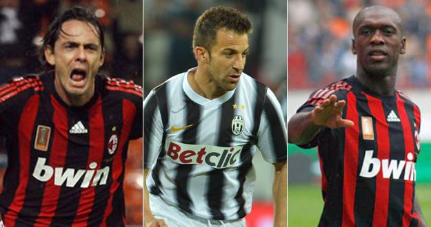 Inzaghi, Del Piero y Seedorf