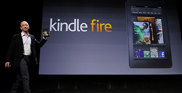 Jeff Bezos, presidente de Amazon, durante la presentación del Kindle Fire