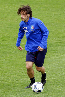 Italy's Pirlo controls the ball during a training session with the national soccer team in Coverciano near Florence