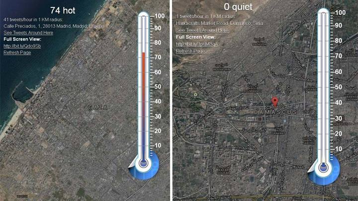 A la izquierda, nivel de tuits en Gaza, Palestina (74) y a la derecha se muestra que no hay ningún tuit enviado desde Damasco (Siria), ambos lugares en guerra.