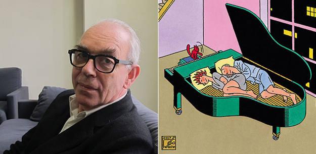 Joost Swarte en el Salón del Cómic de Barcelona y fragmento de una de sus páginas
