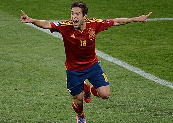 Jordi Alba celebra su gol, el segundo de los cuatro de España en la final de la Eurocopa 2012
