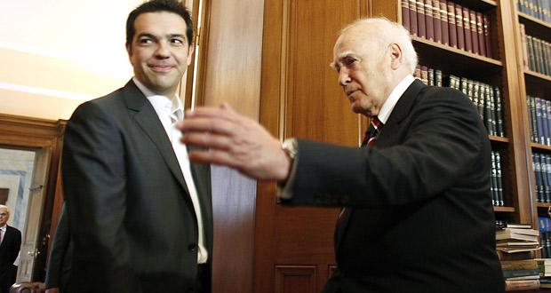 Tsipras, líder del Syriza, con el presidente griego.