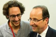 Hollande, con su hijo durante la campaña electoral.