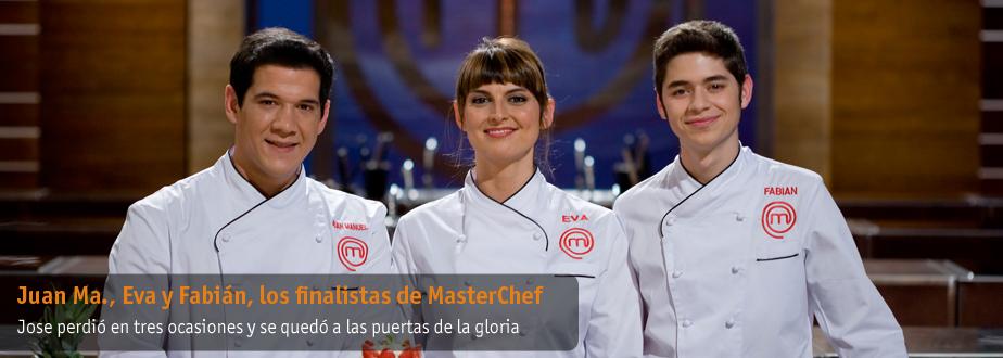 Juan Manuel, Fabián y Eva, los finalistas de MasterChef