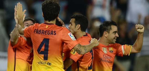Los jugadores del Barcelona celebran uno de sus cuatro goles ante el Getafe.