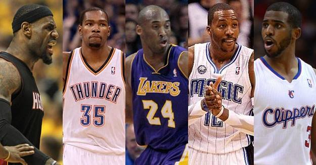 LeBron James, Kevin Durant, Kobe Bryant, Dwight Howard y Chris Paul, los elegidos en el Equipo Ideal de la NBA.