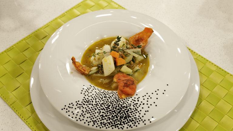 Saber cocinar - Lentejas con sepia al ajillo y  menestra