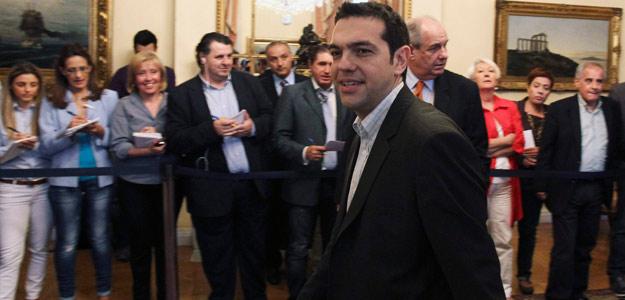 El líder de la Coalición de Izquierda Radical (Syriza) llega al palacio presidencial, el 17 de mayo