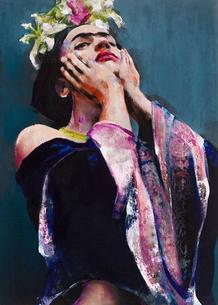 Retrato de Frida Kahlo expuesta en la Opera Gallery de Londres