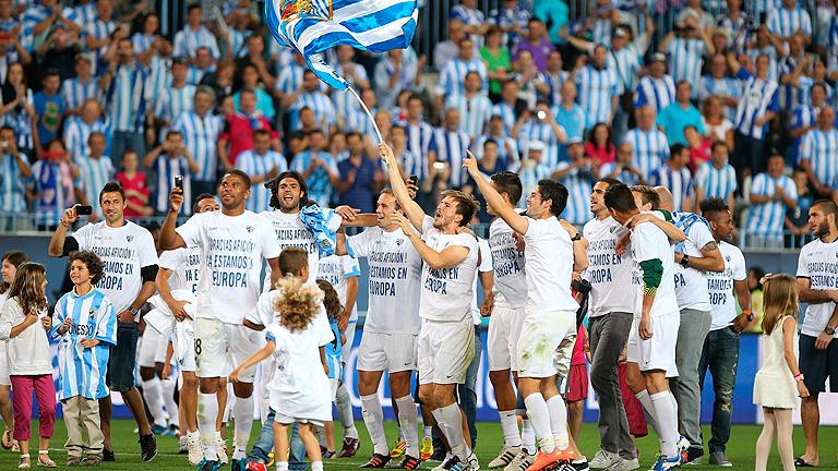 El Málaga celebra su puesto de Champions