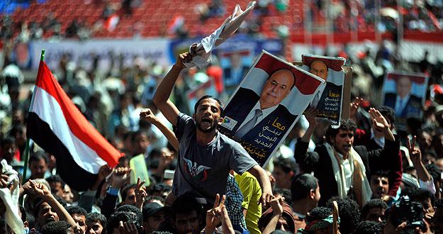 Manifestación en apoyo al candidato presidencial en Yemen