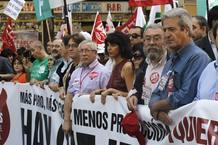 Los secretarios generales de CCOO, Ignacio Fernández Toxo, y de UTG, Cándido Méndez