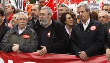 Ignacio Fernández Toxo, Cándido Méndez, Soraya Rodríguez y José Ricardo Martínez durante la manifestación del Primero de Mayo