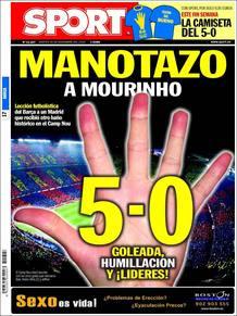 Manotazo a Mourinho, destaca el diario deportivo Sport, con una gigante y evidente mano rememorando el 5-0.