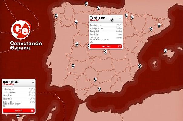 El mapa de municipios de 'Conectando España'