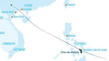 Mapa de la trayectoria seguida por el tifón Haiyan
